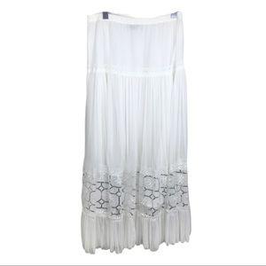 Vintage White Tulle Sequin Hippie Boho Maxi Skirt